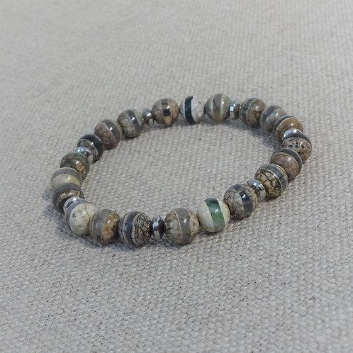 Bracelet mixte pierres Dzi Style Tibetain 8 mm + inox