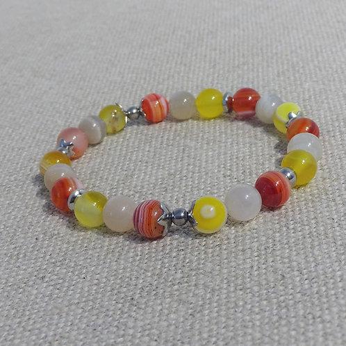 Bracelet Agate, Pierre de lune, INOX rouge jaune
