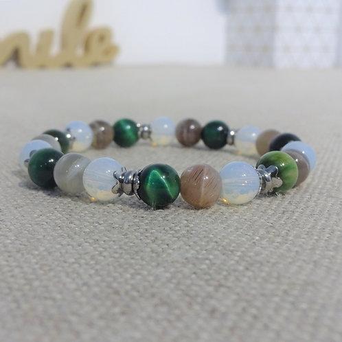 Bracelet Œil de Tigre vert, Pierre de lune, Opaline, INOX vert blanc gris