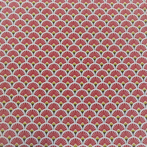 Masque Tissu EVENTAIL Rouge coton 2 couches, 2 plis, pince nez