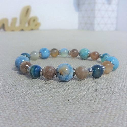 Bracelet Pierre de lune, Hémimorphite, Agate, INOX, bleu gris