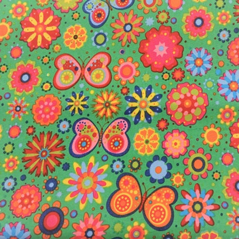 Masque Enfant PAPILLON Vert coton 2 couches, 2 p