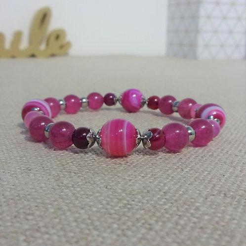 Bracelet Agate rayée, jade, INOX, rose