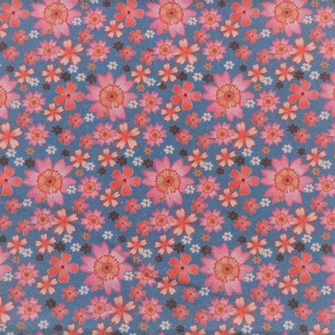 Masque Enfant CERISIER Bleu Rose coton 2 couches, 2 p