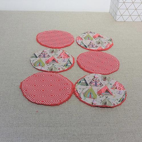6 Lingettes démaquillantes lavables Tipi et Squarre rouge