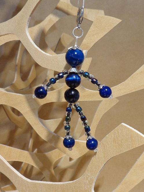 Poupette Agates et œil de tigre bleu nu  - pierres et perle, mousqueton argenté