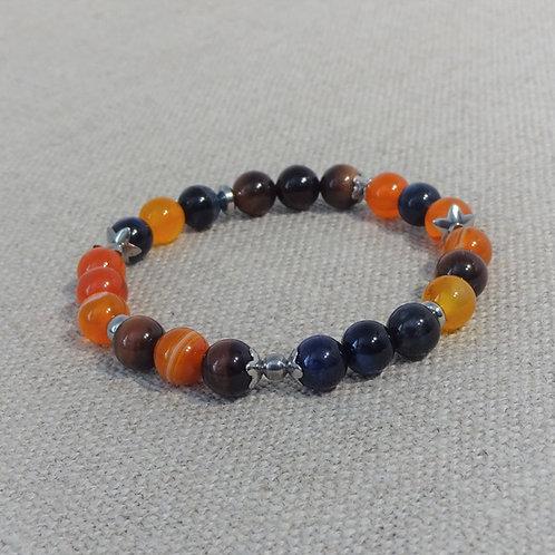 Bracelet Œil de Tigre bleu/brun, agate orange, INOX