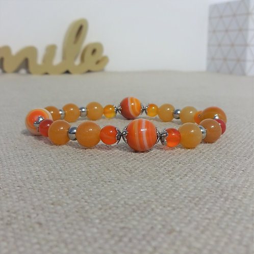 Bracelet Agate rayée, Aventurine, INOX, orange