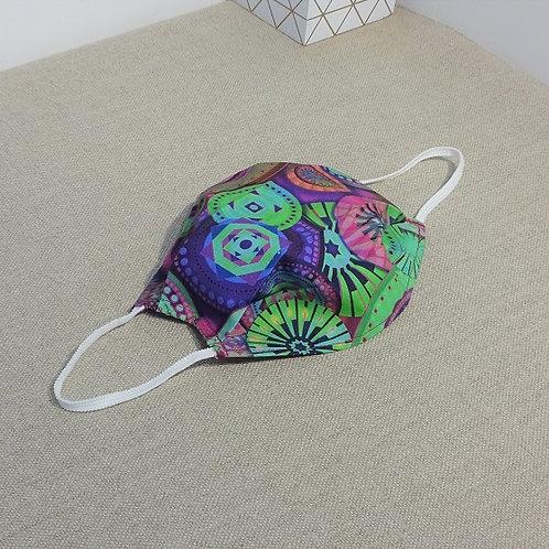 Masque Tissu GEOMETRIC Violet Vert, coton 2 couches, 2 plis, pince ne