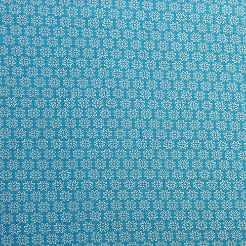 Masque enfant tissus PETITES FLEURS turquoise coton 2 couches