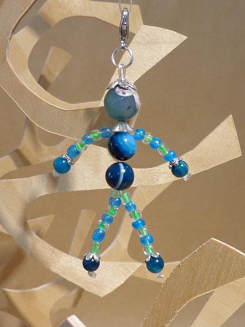 Poupette Agates bleu canard - pierres et perle, mousqueton