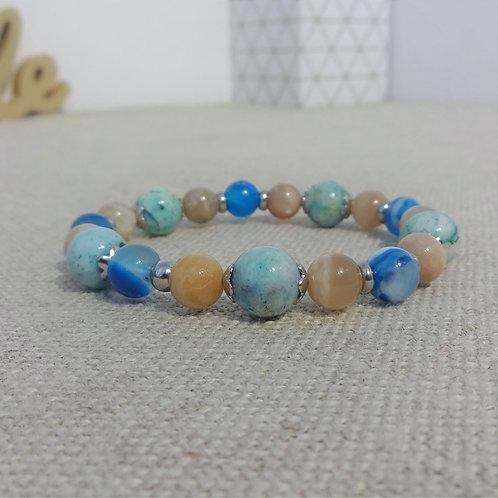 Bracelet Pierre de lune, Hémimorphyte, Agate, INOX, bleu gris