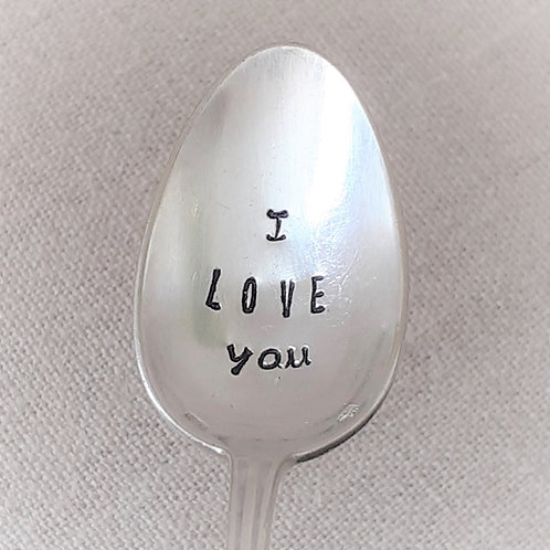 "Cuillère Vintage Gravée ""I love you"""