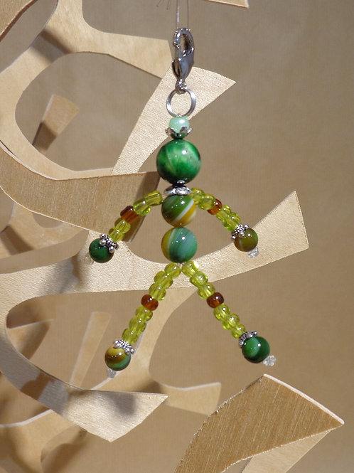 Poupette Agates et oeil de tigre vert/chartreuse - pierres et perle, mousqueton