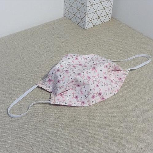Masque Tissu LIBERTY Mauve, coton 2 couches, 2 plis, pince nez.