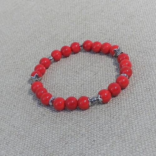 Bracelet Jade, INOX, Rouge