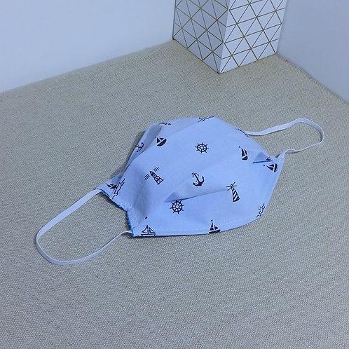 Masque Tissu Petit Phare, Ancre ciel noir coton 2 couches, 2 plis, pince nez