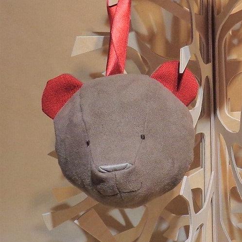 Suspension tête d'ours avec poche ou ruban arrière