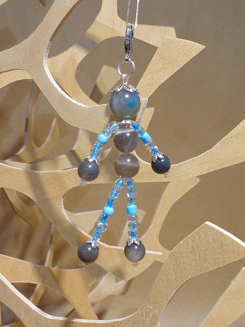 Poupette Agates gris-bleu- pierres et perle, mousqueton