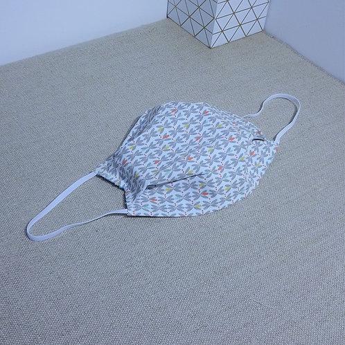 Masque Tissu petites Libellules gris coton 2 couches, 2 plis,