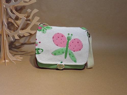 Mini besace fillette en suédine prune et verte, Jacquard papillon et doublure co