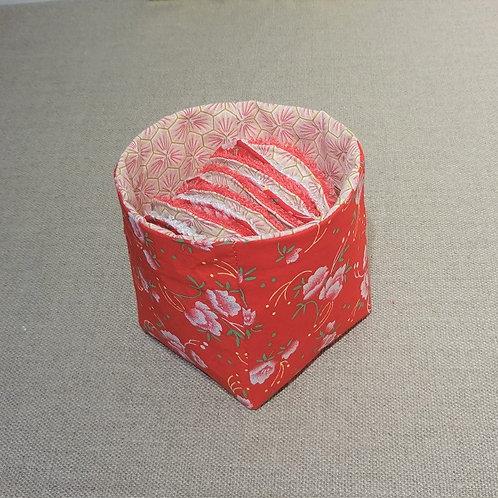 Panière (seule) coton Oeko Tex motif Riad rose et fleur rouges