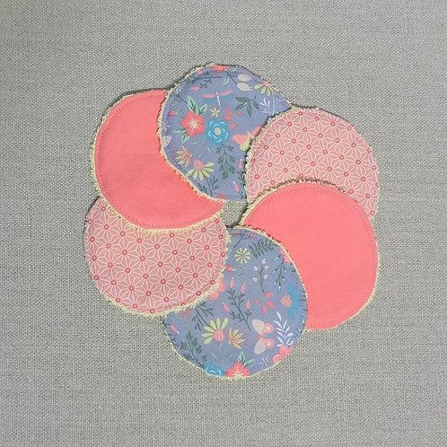 6 Lingettes démaquillantes lavables Papillon Corail Gris et jaune