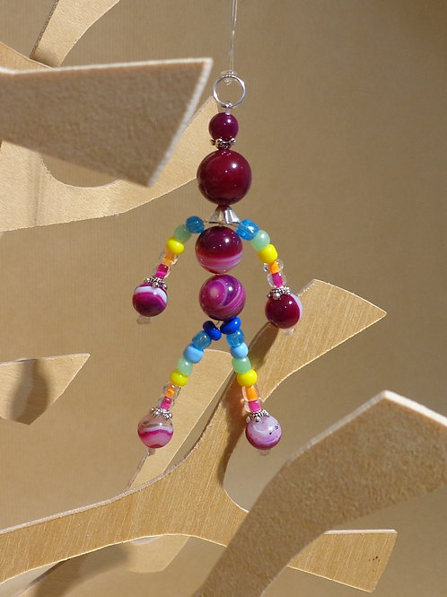 Poupette Agates prunes/multicolores - pierres et perles