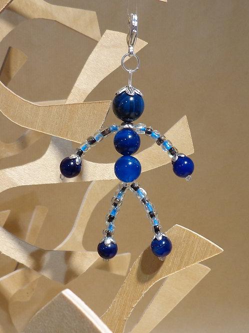 Poupette agates bleu foncé - pierres et perle, mousquet