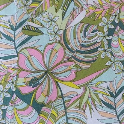 Masque Tissu FLEURS Vert coton 2 couches, 2 plis, pince nez.
