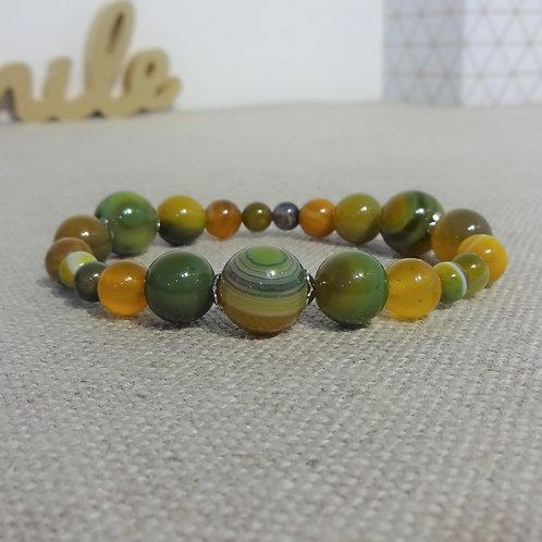 Bracelet Agate rayée chartreuse, INOX, vert jaune