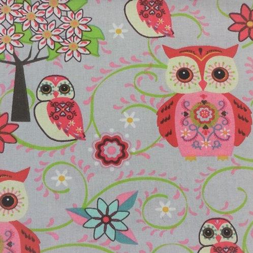 Masque Enfant HIBOU Rose coton 2 couches, 2 p