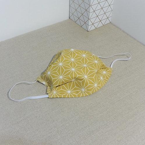 Masque Tissu Grand SAKI Moutarde, coton 2 couches, 2 plis, pince nez amovible