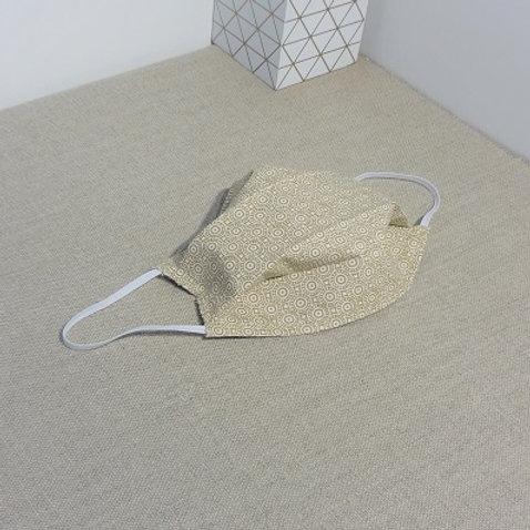 Masque GEOMETRIC Beige coton 2 couches, 2 plis, pince nez.