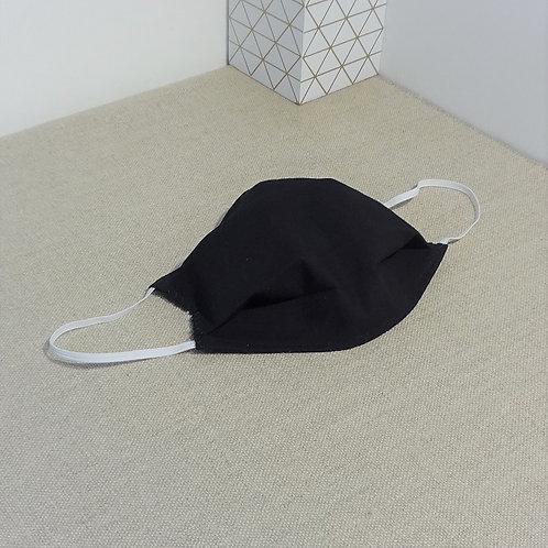 Masque Tissu Noir, coton 2 couches, 2 plis, pince nez am