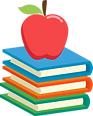 apple with books representing immersive learning