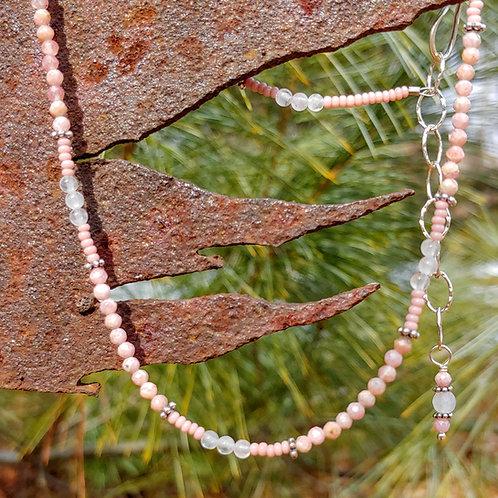Dainty Rhodochrosite Rose Quartz Necklace