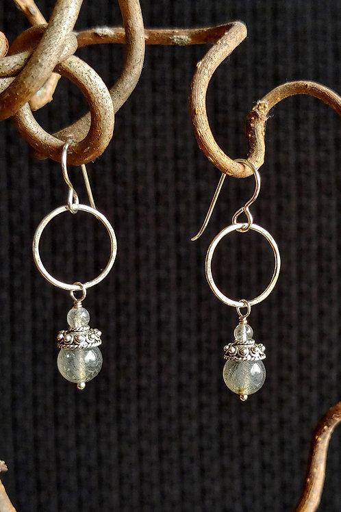 Lab Earrings with Cap and Ring