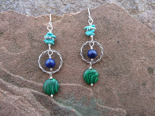 Malachite, Turquoise and Lapis Earrings