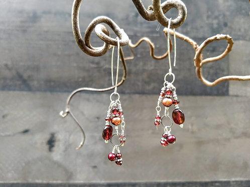 Garnet and Freshwater Pearl Cascading Earrings