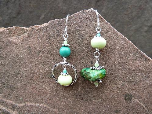 Ceramic and Stone Sister Earrings