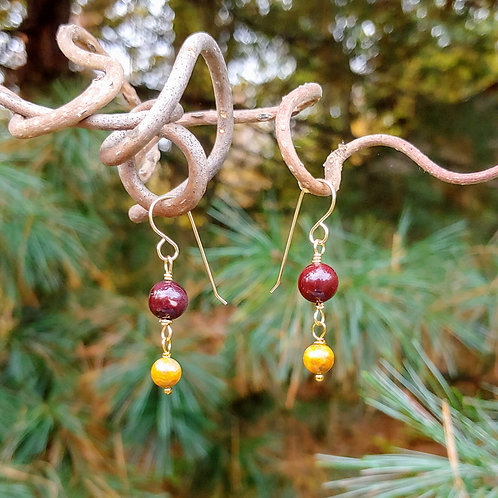 Simple Mookaite Beaded Earrings