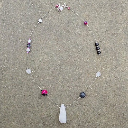 Mixed Stone Thread Necklace