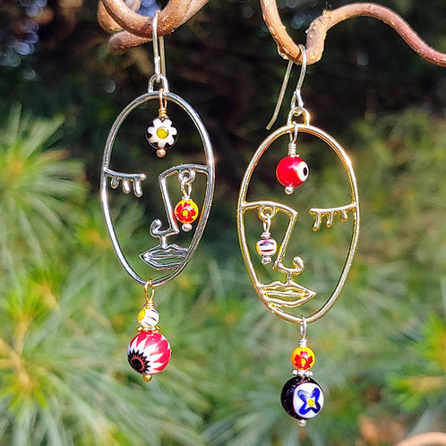 Mixed Metal Sister Faces Earrings