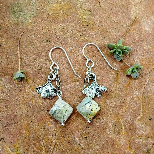 Silver Leaf Jasper Ginkgo Earrings