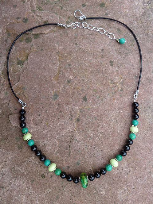 Ceramic and Stones with Leather Necklace