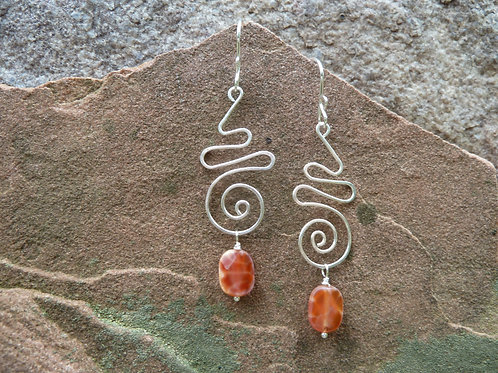 Crab Agate with Fancy Silver Earrings