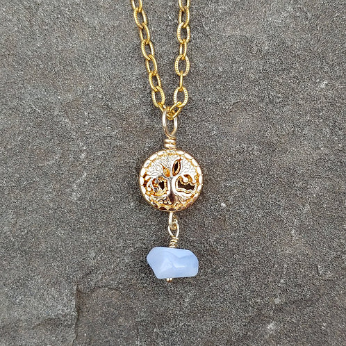 Tree of Life Blue Lace Agate Pendant