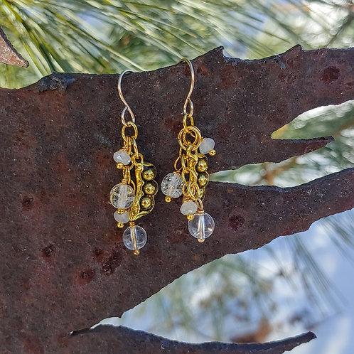 Golden Pea Pod Quartz Earrings