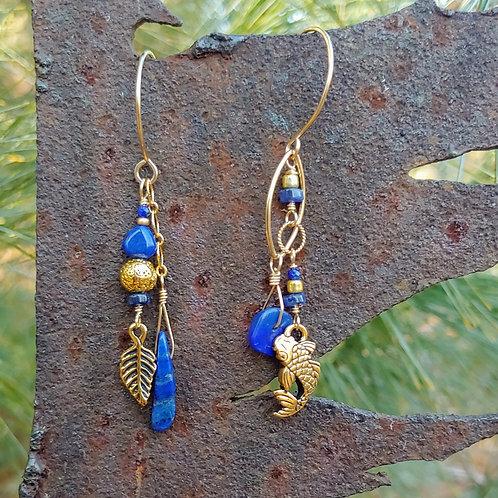 Long-n-Lapis Sister Earrings